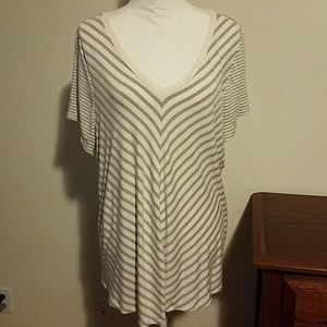 Maurices gray and white striped t.